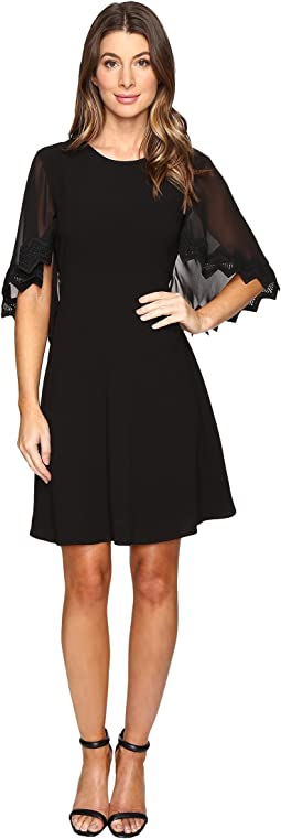 Stretch Crepe Capelet Dress
