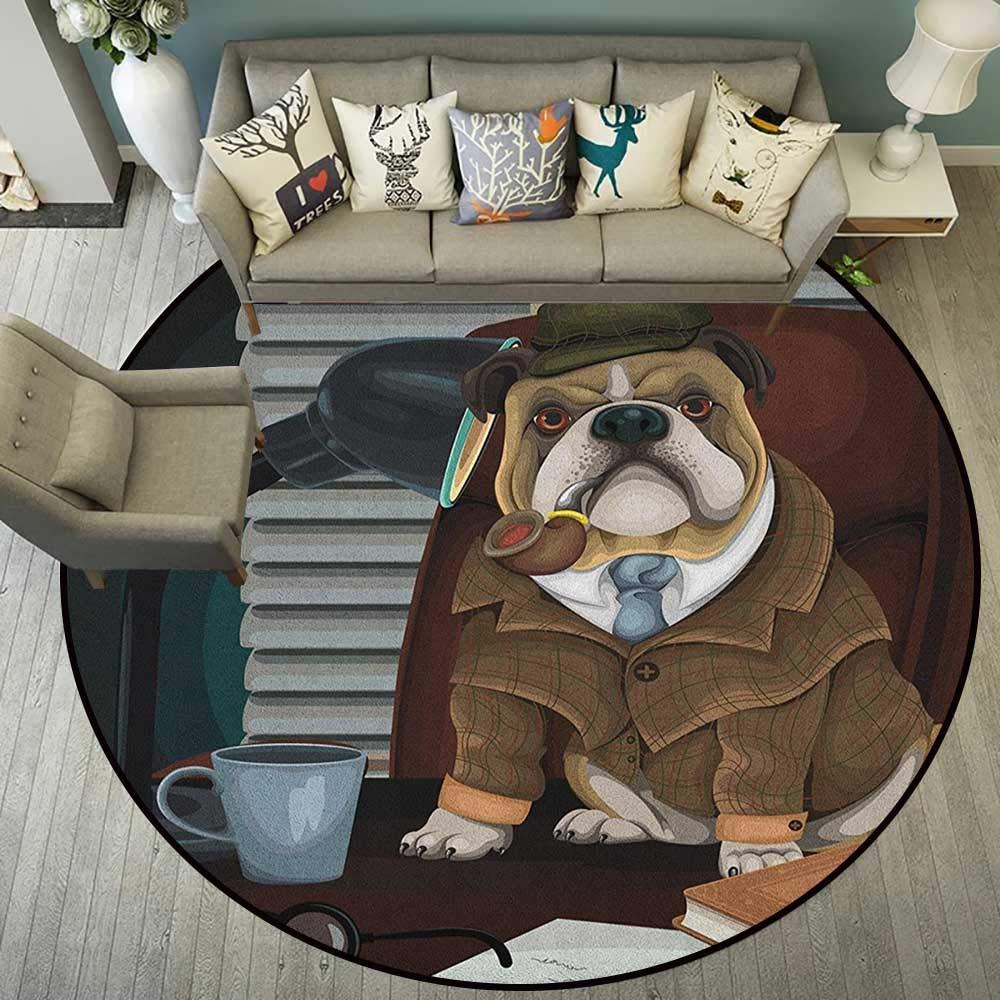 English Bulldog Alfombra Tradicional Inglés Detective Perro con un Tubo y Sombrero Sherlock Holmes Imagen D54 Suave Alfombra para niños bebé: Amazon.es: Hogar