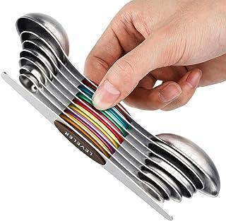 YOROO Cuillères à Mesurer Magnétiques Magnetic Measuring Spoons Set,Double Face en Acier Inoxydable avec égaliseur et Cuil...