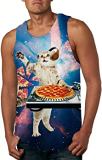 Cutemefy Men's All Over Print Sleeveless Tank Top Casual Sport Gym Vest Shirt