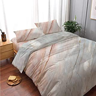Marble Comfortable 4 Piece Bedding Set,Onyx Stone Textured Natural Featured Authentic Scratches Artful Illustration Decorative for Bedroom,Double Side Print:King