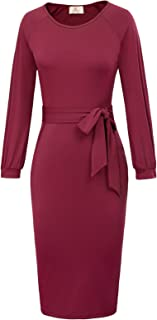 Women Casual Long Sleeve Slim Fit Belted Front Business Pencil Dress