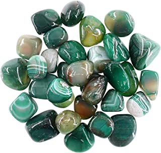 Swpeet 1Pound Marine Green Agate Bulk Stone Large Gemstone Crushed Pieces 0.75-1