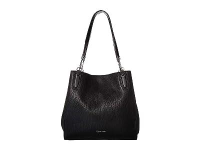 Calvin Klein Elaine Bubble Lamb Novelty Triple Compartment Tote (Black/Silver) Tote Handbags