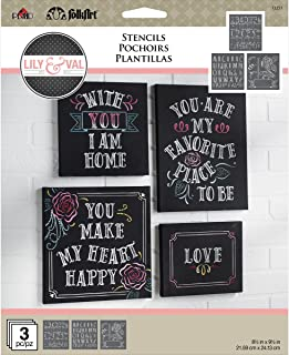 FolkArt 13251 Welcome Lily & Val Stencil Pack