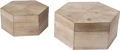 Mercana Furniture & Decor Set of 2 Elyse by Mercana Decorative Boxes, 13.8L x 12.0W x 6.0H, Light Brown