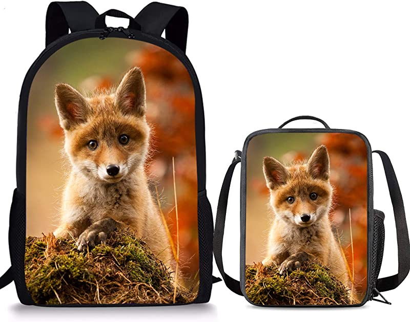 PrelerDIY Cute Baby Fox Insulated Lunch Bag School Bookbag 2 Piece Sets Food Container Rucksack For Kids Back To School