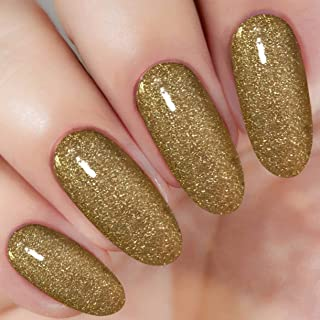 Gold Glitter Nail Dipping Powder (Vitamin Included) 1 Ounce, I.B.N Dipped Acrylic Dip Powder DIY Manicure Salon Home Use (DIP 055)