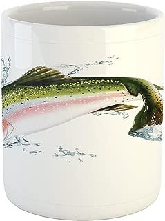 Ambesonne Fish Mug, Salmon Jumping out of Water Making Splashes Cartoon Design Photorealistic Airbrush, Ceramic Coffee Mug Cup for Water Tea Drinks, 11 oz, White Green