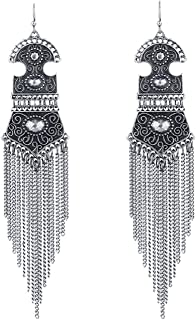 Antique Silver/Bronze Bohemia Vintage Fringes Tassel Long Drop Earrings for Women,Antique Silver Plated