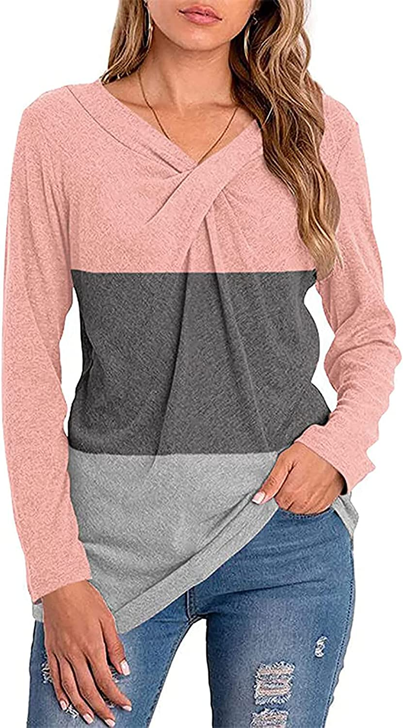 Women's V Neck T Shirts Loose Fit Long Sleeve Color Matching Casual Tops Blouse Tunic Tops Tees