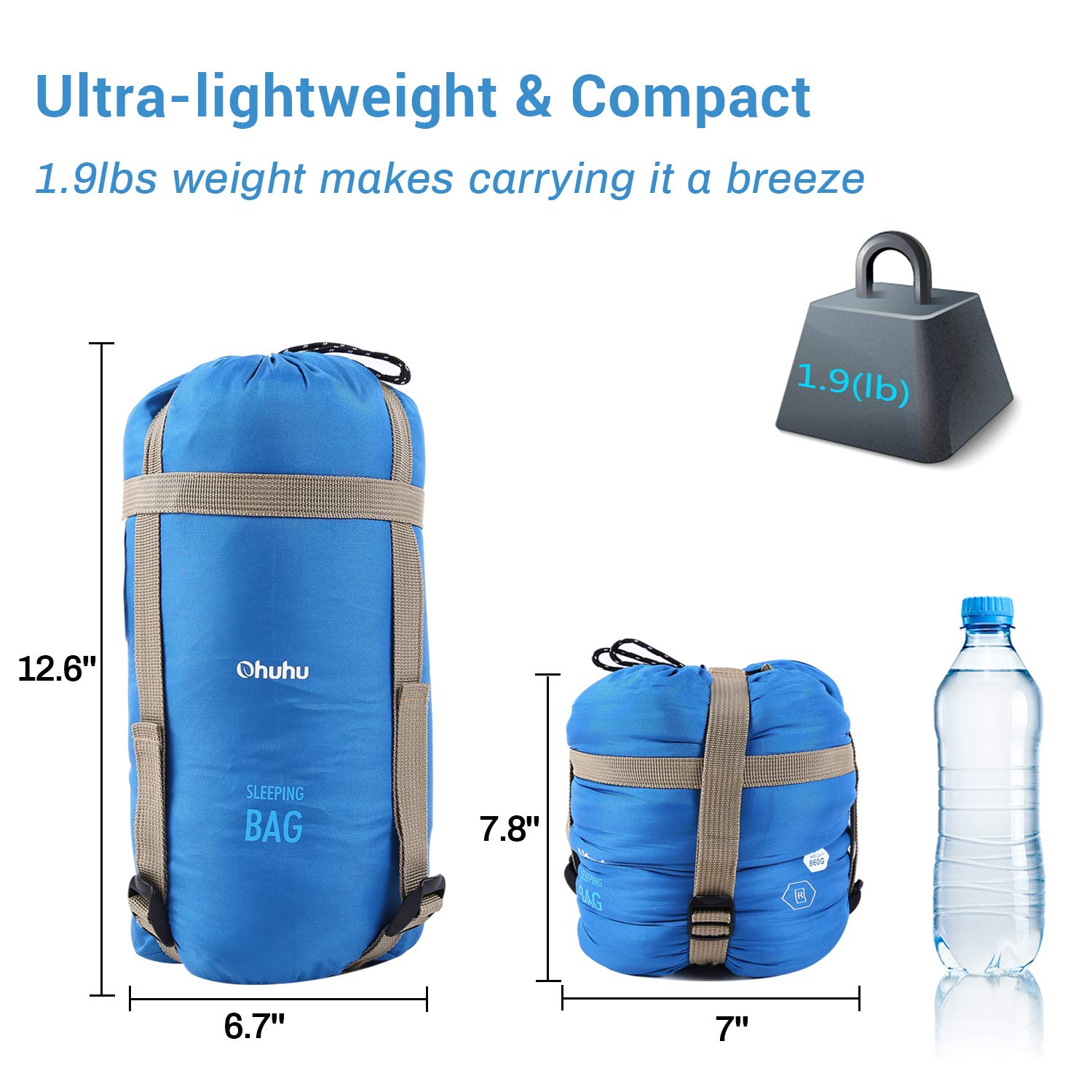 Ohuhu Warm Weather Sleeping bag 3 Season Lightweight Portable Sleeping bags Adult Kids Backpacking Sleeping bag with Carry Bag for Camping, Hiking, Backpacking and Outdoors 59℉-77℉