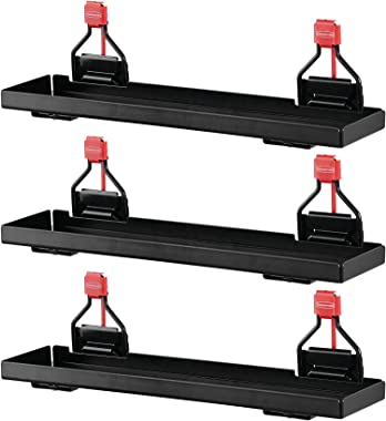 Rubbermaid Outdoor Metal Backyard Storage Shed Accessories Shelf, Small, Black (3 Pack)