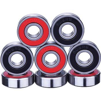 8 Pieces Bearings Skateboard Bearings Longboard Roller Skate Bearings 608 2RS, Double Shielded, Red and Black