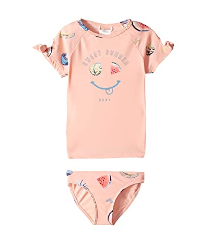 Roxy Kids Splashing You Short Sleeve Rashguard Swim Set (Toddler/Little Kids) (Peach Bud Fruit Juice) Girl