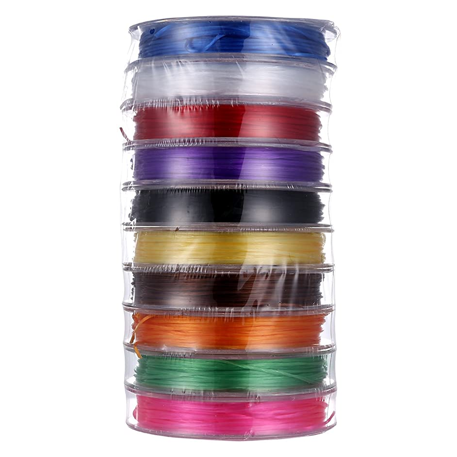 VNDEFUL Elastic Stretch Polyester Spandex Yarns, for Jewelry Making Bracelet Beading Thread, (6m/ Roll, Total 10 Rolls Mixed Color)