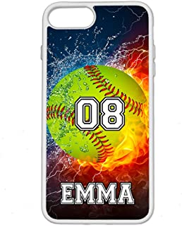 iPhone 6S Plus Case, iPhone 6 Plus Case, ArtsyCase Thunder Water Fire Softball Personalized Name Number Phone Case for iPhone 6 Plus and iPhone 6S Plus (White)