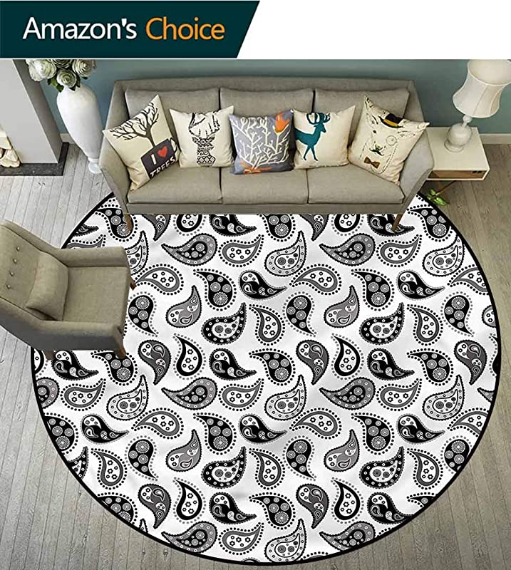 RUGSMAT Paisley Non Slip Area Rug Pad Round Different Flowers Forms Floor Mat Home Decor Diameter 71