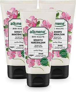 alkmene Handbalsam mit Bio Malve - Sensitiv Handcreme für empfindliche & trockene Hände - vegane Creme ohne Silikone, Parabene, Mineralöl, PEGs, SLS & SLES - Hautpflege im 3er Pack 3x 75 ml