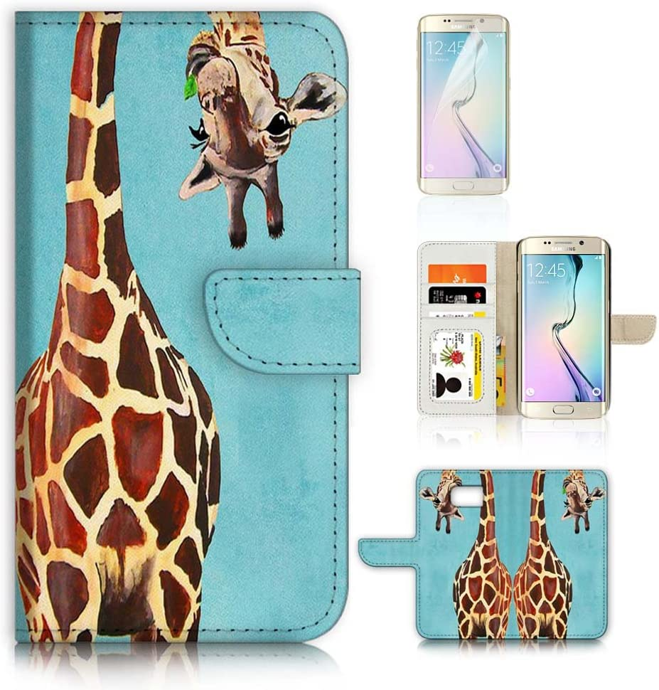 (for Samsung S7 Edge, Galaxy S7 Edge) Flip Wallet Case Cover & Screen Protector Bundle - A4131 Giraffe