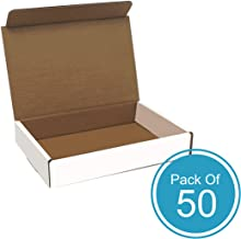 Corrugated Cardboard Shipping Box - Pack of 50, 9 x 6.5 x 1.75 Inches, White