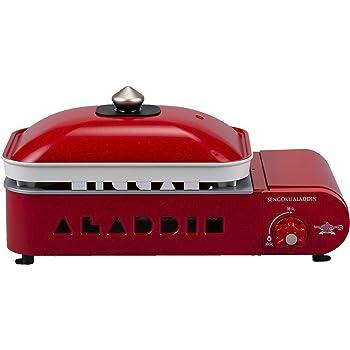 Aladdin (アラジン) ポータブル ガス ホットプレート プチパン Petit Pan カセットボンベ式 プレート2種付 平プレート / 2色鍋 [オレンジページ×Sengoku Aladdin レシピブック付属] レッド SAG-RS21(R) W420×D216×H205