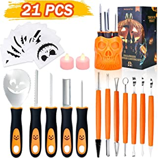 Halloween Pumpkin Carving Kit, TROPICALTREE 21Pcs Pumpkin Carving Tools Accessories, Professional Carving Knife Set Stainl...