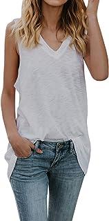 39d63e05d276b Womens Long Tank Tops Casual V Neck Oversized Sleeveless Tunic Shirts  Summer Tees
