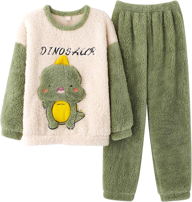 Long Sleeve Fleece Pajama Set for Men Cozy Fleece Sleepwear Pajamas Top Bottom Cute 2-Piece Loungewear Pajama Set