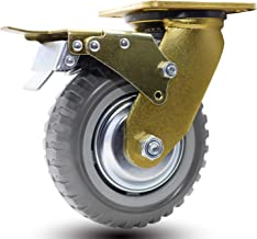 Dr.Luck 6 Inch A41 Heavy Duty Caster Series 660Lbs Capacity Polyurethane PU with Tyre Veins Tread Polypropylene PP Centre Double Ball Bearing Top Plate Swivel Caster Wheel with B6 Metal Total Brake