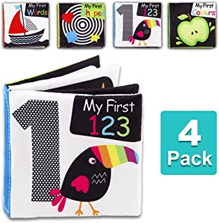 Baby First Soft Activity Cloth Book Set, High Contrast Black and White Interactive Crinkle Soft Book Bundle for Infant, Ba...