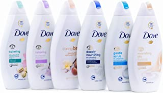 Dove Body Wash Variety 6 Pack - Shea Butter, Deep Moisture, Pistachio Cream, Coconut Milk, Gentle Exfoliating and Silk Glo...