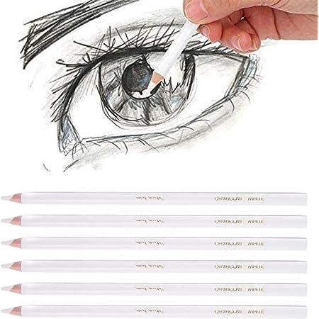 Blanc Crayon à Fusain Crayon de Charbon de Bois Blanc Esquisse Professionnelle Stylo Non-Toxique Dessin Outils Art Peinture Fournitures pour Artiste Dessin Croquis MéLange Croquis Ombrage 6 Pièces