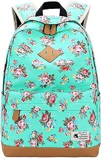 DNFC Canvas Schulrucksack Mädchen Rucksack Fashion Schulranzen Teenager Schultaschen Blumen Freizeitrucksack Kinderrucksack Mode Damen Daypack Backpack Grün