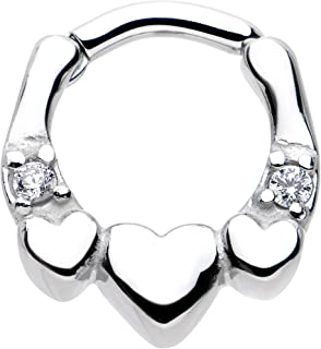 """Body Candy Stainless Steel Clear Accent Hearty Hug Hearts Septum Clicker 14 Gauge 1/4"""""""
