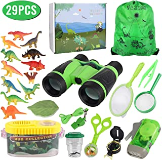 Outdoor Explorer Kit for Kids with Dinosaur Toy, Adventure Exploration Toys, Bug Catching Set of 29,Binoculars,Magnifying Glass, Whistle, Butterfly Net, Bug Viewer for Backyard Camping Hiking