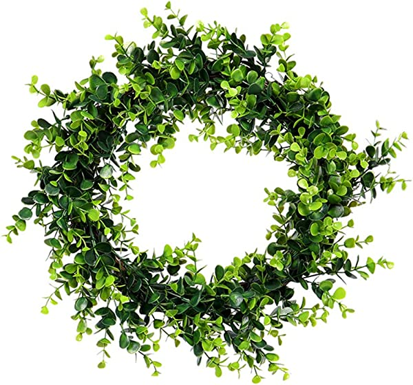 Fine Artificial Green Leaves Wreath Fake Eucalyptus Wreath Outdoor Artificial Green Plant Wreath Simulation Green Plant Garland Home Office Decor