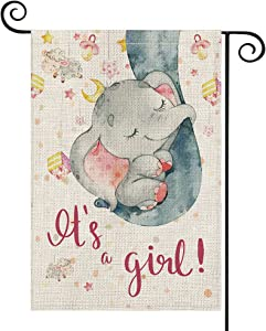AVOIN colorlife Baby Shower Gender Reveal Garden Flag Double Sided, It's A Girl Little Elephant Small Mini Flag, Gift For Baby Holiday Party Gathering Yard Outdoor Decoration 12.5 x 18 Inch