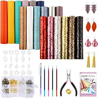 Caydo 23 Pieces 6 x 6 inch Leather Earrings Making Kit Include Instructions, 18 Pieces 3 Style Faux Leather Sheets, Leather Earring Cut Molds and Tools for Making Leather Earrings Bows and Crafts