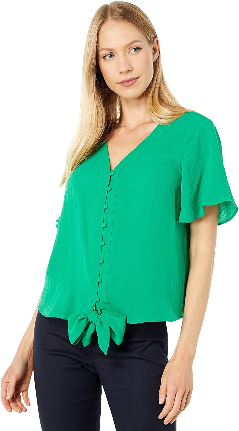 Vince Camuto Short Sleeve Button-Down Tie Front Blouse