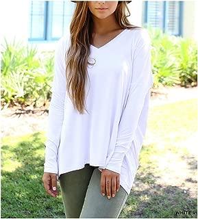 Women's Original Long Sleeve V-Neck Top-White-medium