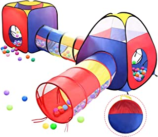 4 in 1 Pop Up Play Tent with Tunnel, Kids Playhouse, Ball Pit for Kids, Boys, Girls, Babies and Toddlers as Gift, Easy Fol...