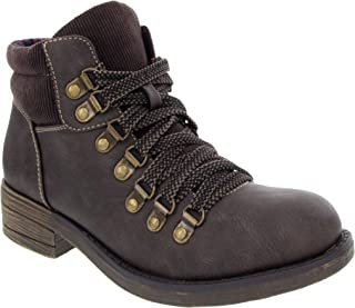 Sugar Women's Raelie Lace Up Hiking Boot Low Shaft Hiker with Block Heel and Studded Eyelits