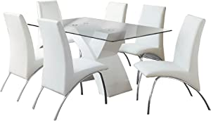 Furniture of America Rivendale 7-Piece Modern Dining Table Set with 12mm Tempered Glass Top, White Finish