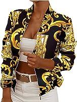 Hefu Womens Jackets Zip Up Coat Casual Long Sleeve Floral Print Bomber Jacket Trendy Outerwear Lightweight Streetwear