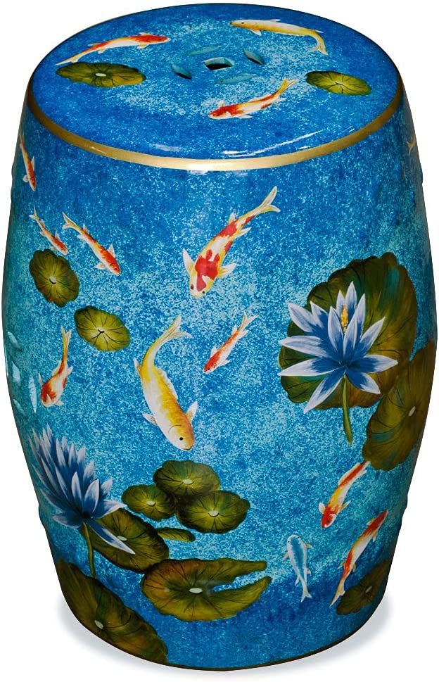 Finally popular brand China Furniture Beauty products Online Porcelain Garden Painted Koi Stool Hand