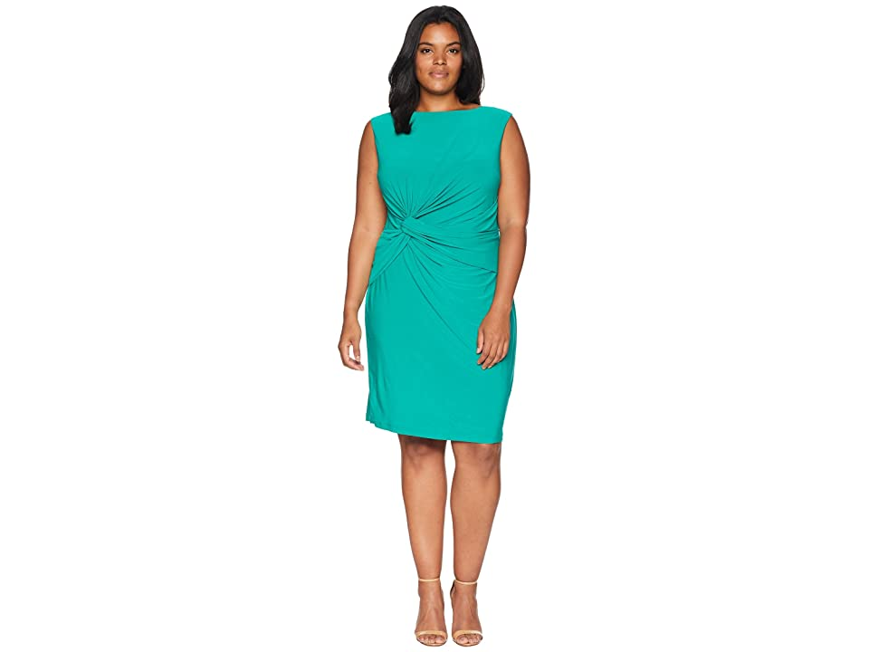 Adrianna Papell Plus Size Matte Jersey Sheath Dress (Emerald) Women