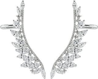 Pendientes con cierre de gancho, con forma de alas de ángel plateadas, con circonitas.