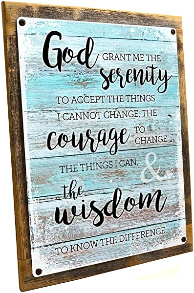 Homebody Accents Wood Framed Rustic Serenity Prayer Metal Sign Christian Inspirational Prayer On Reclaimed Rustic Wood