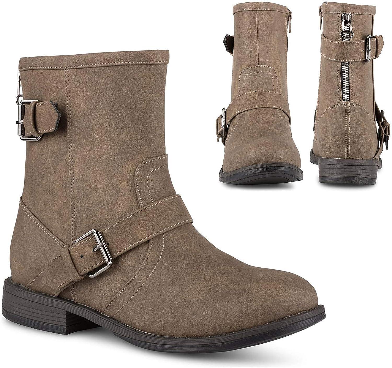 Twisted Amira Women's Ankle Boots, Zipper & Buckle, Low Heel Ladies Bootie Shoes